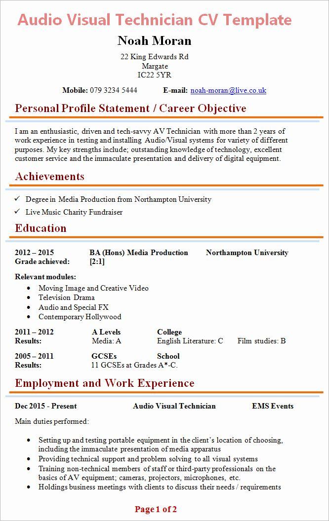Hvac Technician Job Description Resume Luxury Writing Cv Template Sample Film And Television Studie Personal Statement