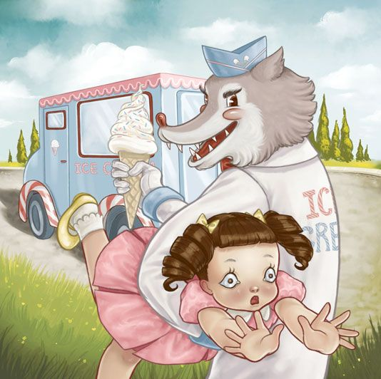 A lonely girl so vunerable To her house she walks alone The bad wolf ice-cream man had known And took her to his awful home