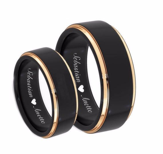 Black and Gold Plated Wedding Rings Promise Ring 8mm6mm His /& Hers Wedding Rings Personalize Custom Engraved Tungsten Rings