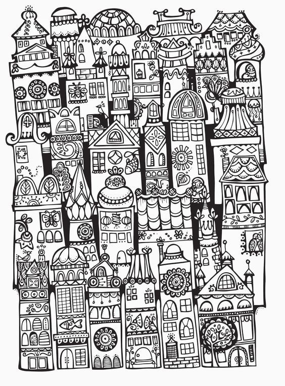 Adult Coloring Pages Books Teaching Art Doodles Cityscapes Bullet Journal Zentangle Print