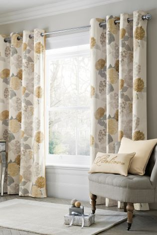 Buy Natural Flourish Print Eyelet Curtains From The Next UK Online Shop
