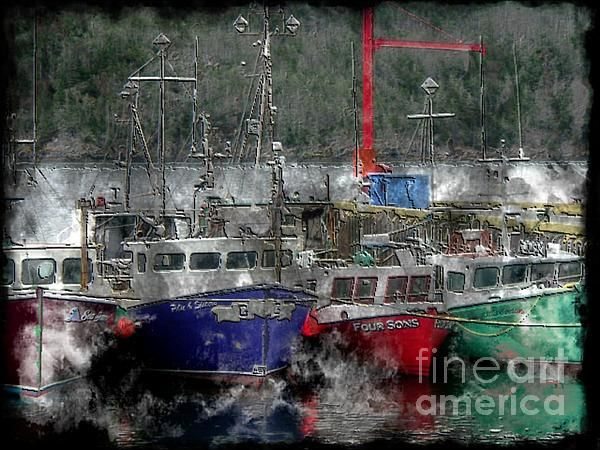 Colorful boats on steel engraving type image.
