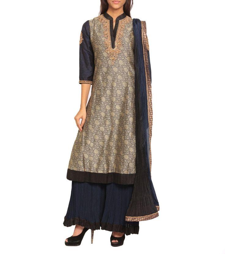 #Beige & #Dark #Blue Banarasi Embroidered #Silk Blend #Kurta #Set by #Ritu #Kumar at #Indianroots