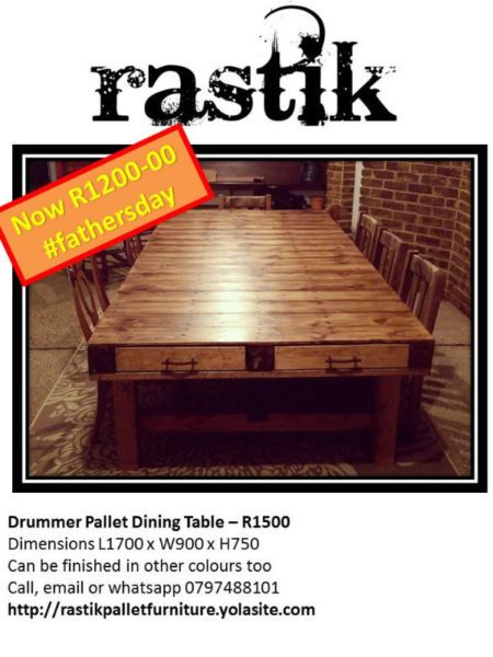 Drummer Pallet Dining Table– R1500Dimensions L1700 x W900 x H750Can be finished in other colours tooCall, email or whatsapp0797488101http://rastikpalletfurniture.yolasite.com