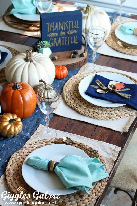 Navy, gold, and aqua Thanksgiving tablescape ||  Thanksgiving tablescape || Holiday decorating || Fall decorating ideas || Thanksgiving centerpiece ideas || Thanksgiving tablescape ideas|| Thanksgiving decor || Thanksgiving decor ideas || Fall decor ideas