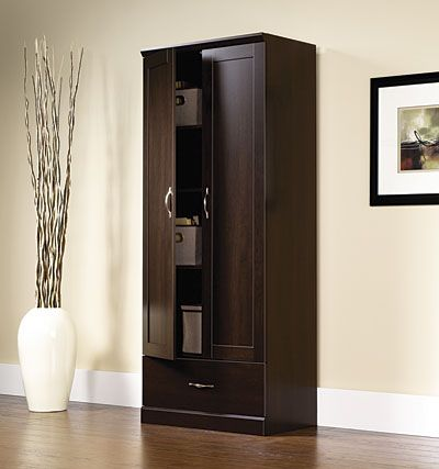 Sauder storage cabinet with drawer in store only for Cinnamon cherry kitchen cabinets