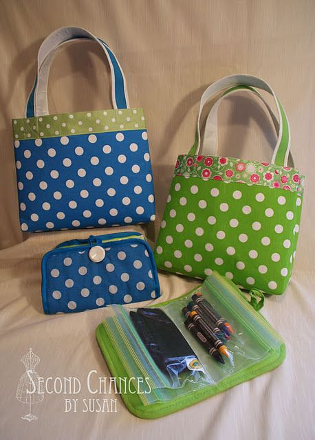 Kids Activity Bags tutorial - made with Dollar Store place mats, pot holder, zip lock bags, ribbon, and a button
