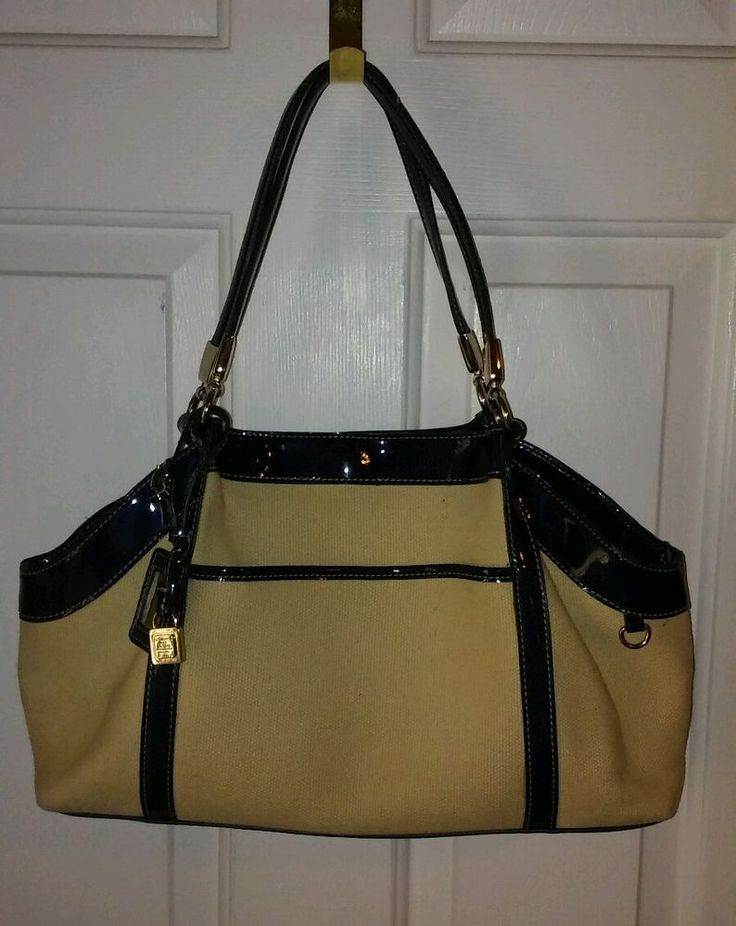 Liz Claiborne Beige w/Blue Patent Trim Muli-Compartment Large Handbag Purse  | eBay