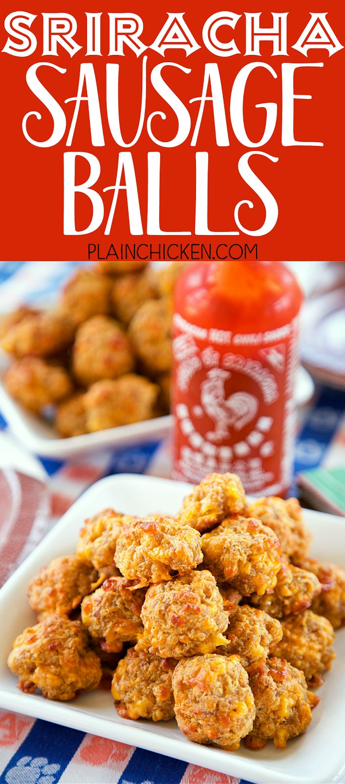Sriracha Sausage Balls - THE BEST! Great for parties! You can mix together and freezer for later. Sausage, bisquick, cream cheese, cheddar cheese and sriracha. We always have some in the freezer! SO good!