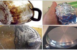 Pulite le pentole bruciate usando solo un foglio di alluminio!