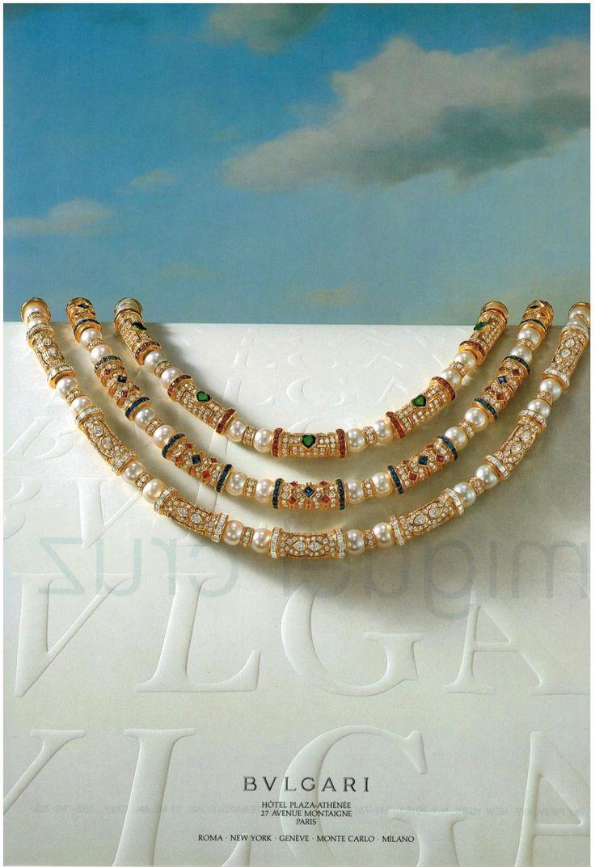 Pearl Jewellery Necklace >> 1985 BVLGARI Necklace coloured gemstones , pearls & diamonds PRINT AD Rare | Pearl diamond ...