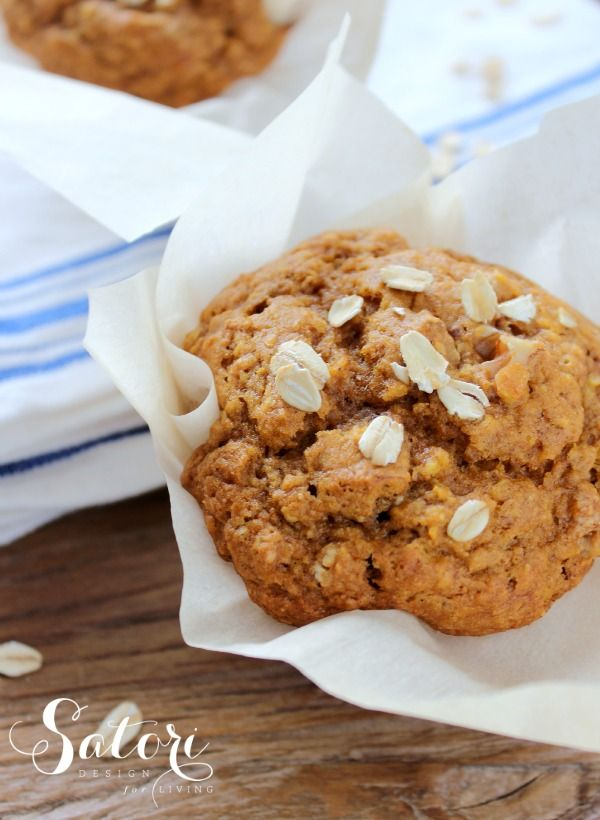 Pumpkin Oat Muffins- packed with protein and fiber and so delicious!