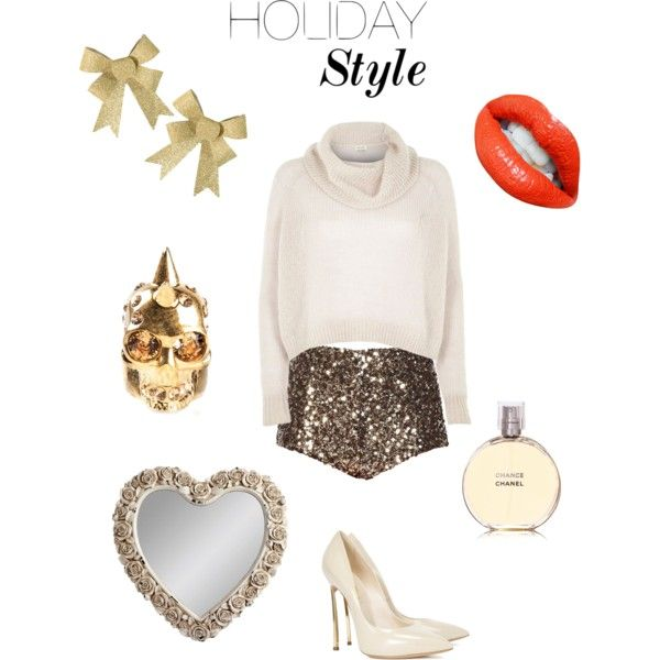 A fashion look from November 2014 featuring River Island sweaters, French Connection shorts and Casadei pumps. Browse and shop related looks.