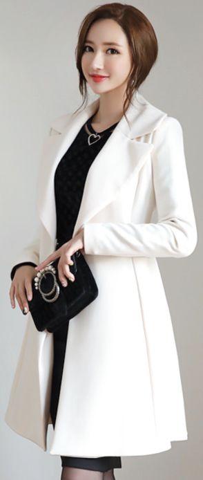 StyleOnme_Pearl Belt Set Flared Jacket #feminine #chic #koreanfashion #kstyle #kfashion #white #jacket #falltrend #seoul