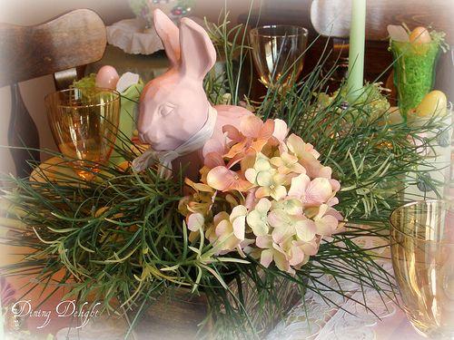 elegantEaster Dinner, Easter Tables, Easter Bunnies, Easter Decor, Dinner Tablescapes, Easter Bunny, Dining Delight, Easter Ideas, Bunnies Centerpieces
