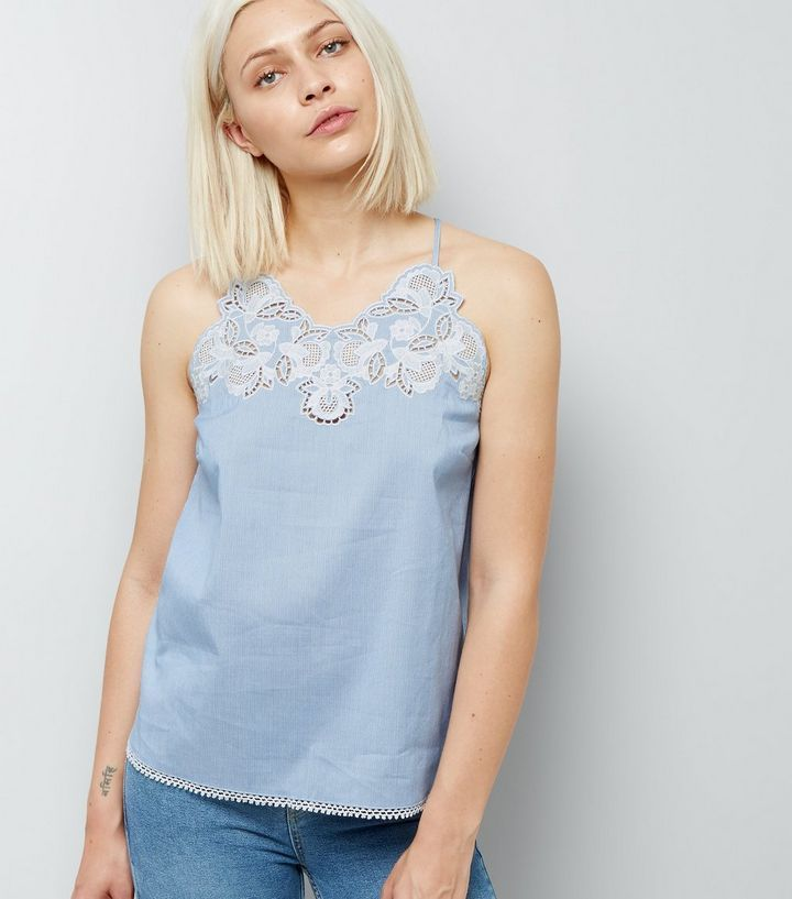 L2017 http://www.newlook.com/row/womens/clothing/tops/blue-crochet-neck-stripe-cami-top/p/525512749?comp=Browse