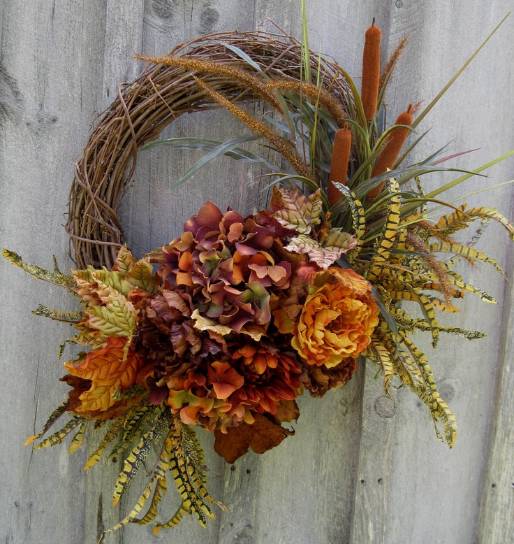 Autumn Wreaths, Fall Floral Wreath,  Hydrangea, Ferns, Leaves, Woodland Decor. $129.00, via Etsy.