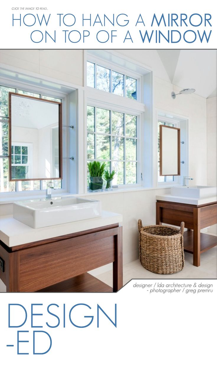 how to hang a mirror on a window bathroom mirrors