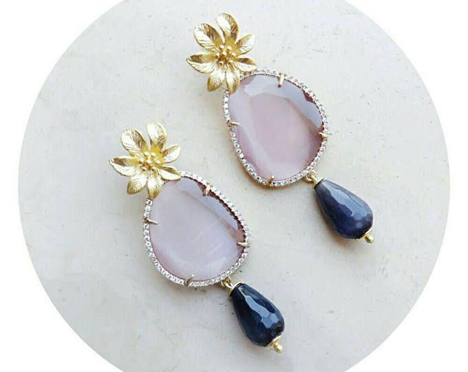 Gioielli rosa per le donne, gioielli per ragazza, boho orecchini, fidanzata orecchini regalo, regalo per la moglie, gioielli romantica del fiore