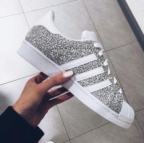 Silver glittery Adidas. ✴