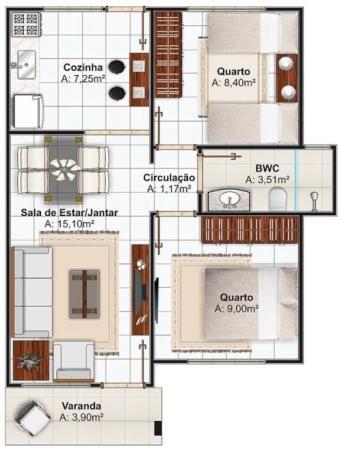 Plano casa pequeña de dos dormitorios 52m2