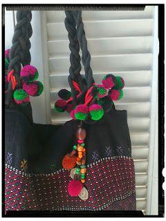 Zoe - scarves: Black ethnic handmade bag