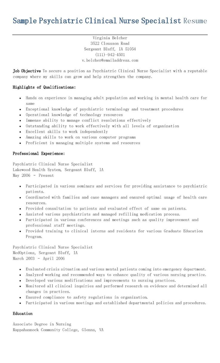 sample psychiatric clinical nurse specialist resume