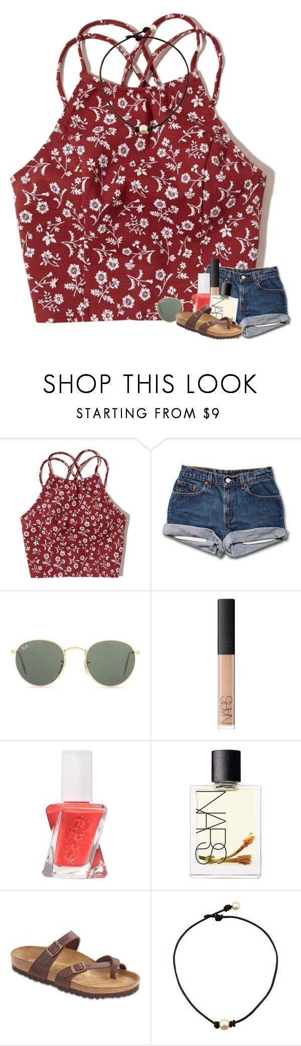 """birk contest"" by madelinelurene ❤ liked on Polyvore featuring Hollister Co., Ray-Ban, NARS Cosmetics, Essie and Birkenstock"
