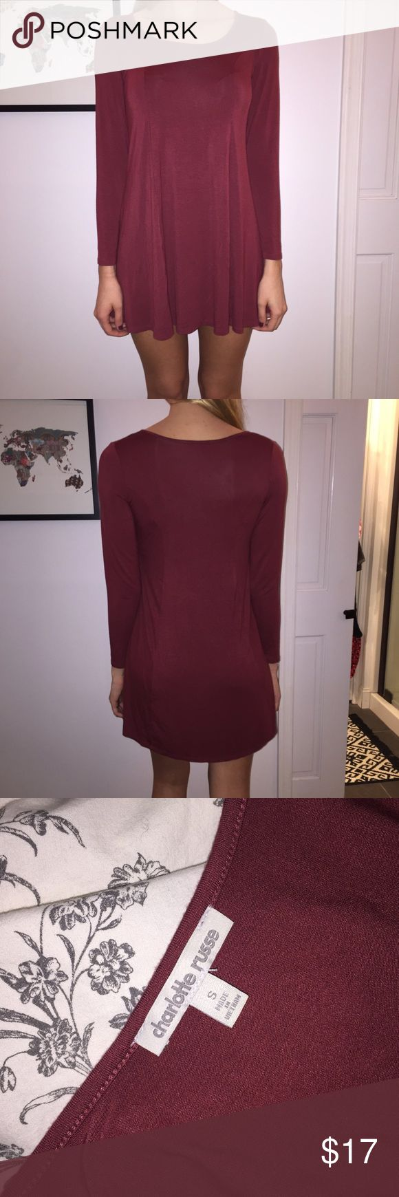 Maroon Long Sleeve Dress Short, long sleeve, dress in maroon with scoop neck. Never worn! I am 5'8 and it's a little short for me. Perfect condition. [Will accept REASONABLE offers but no trades] Charlotte Russe Dresses Long Sleeve
