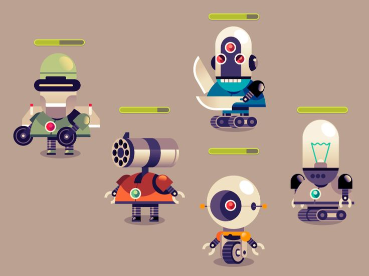 Robots! by Raúl Gil, on dribbble