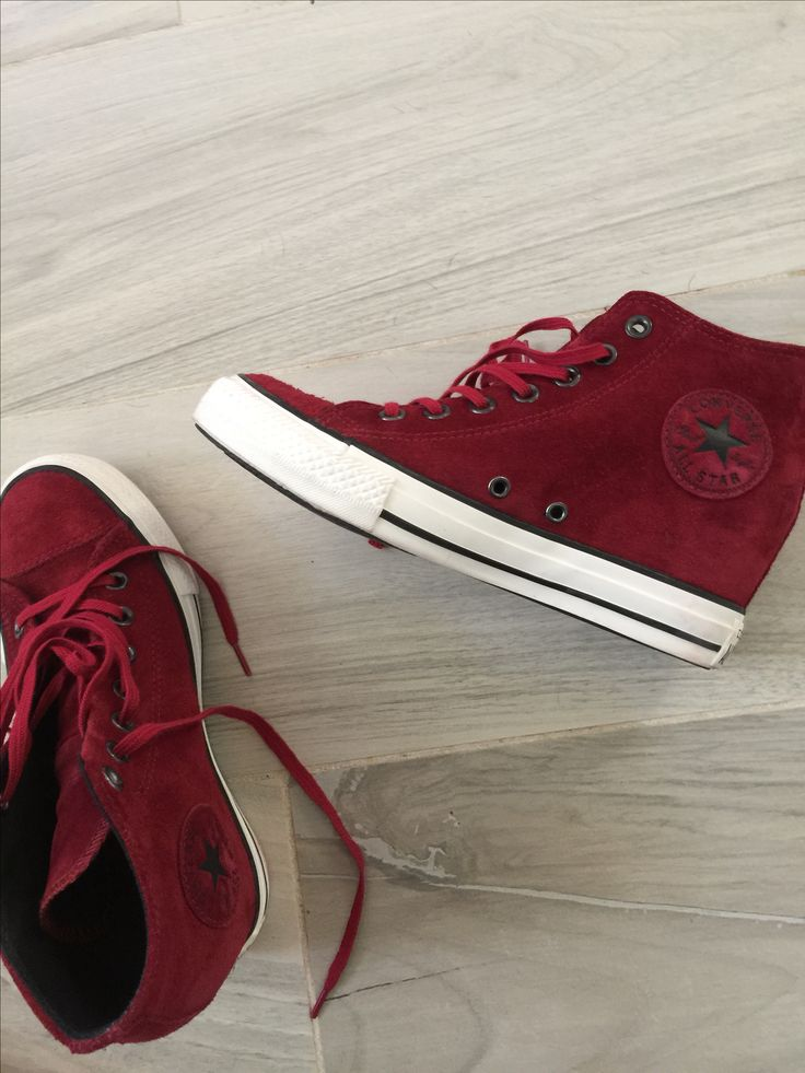 loving new my red wedge converse