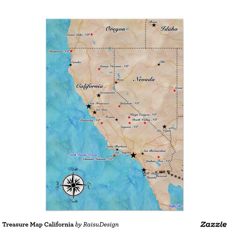 Treasure Map California Poster