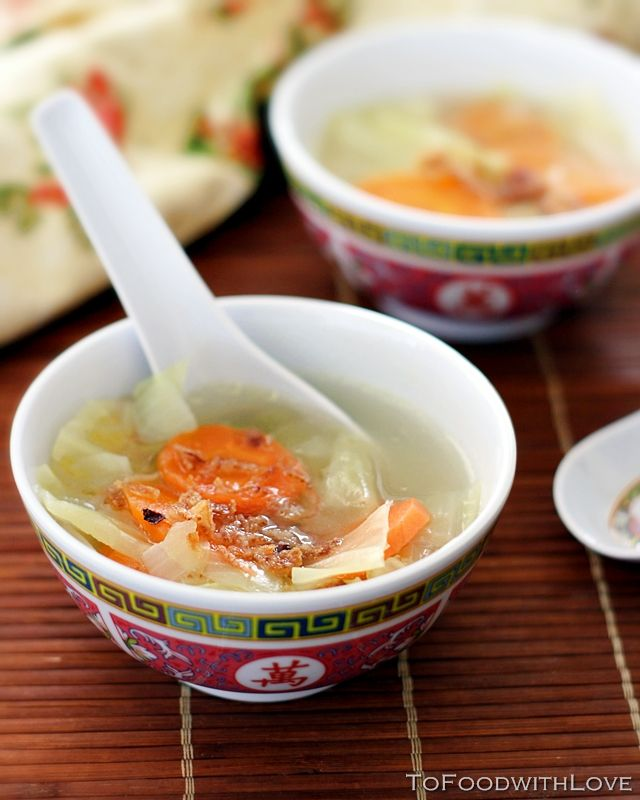 Clear Cabbage and Carrot Soup  4 cups chicken broth  1/2 onion, roughly chopped  1 carrot, sliced into rounds  1/4 head green cabbage, roughly chopped cabbage (about 2 inch squares)  3 cloves garlic, chopped  Vegetable oil  Salt and pepper