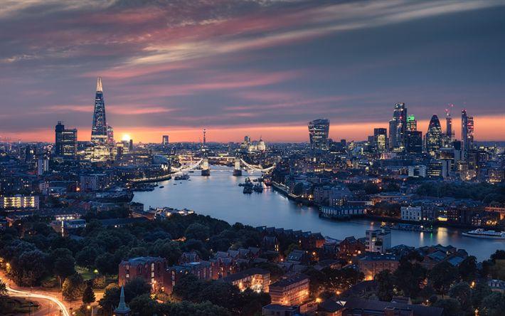 Scarica sfondi Il Tower Bridge, Londra, Sera, metropoli, regno UNITO, Fiume Tamigi, Inghilterra