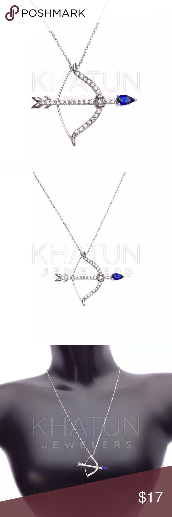 925sterling silver Crossbow Symbol cubic zirconia Description:    Jewelry Type: Necklace   Specifically for: Women   Metal Finish: High Polish   Metal Type: 925 Sterling Silver   Center Gem Type: Cubic Zirconia   Center Gem Shape: Round Shape   Accent Gem Color: Blue Accent   Center Gem Cut: Brilliant Cut   Center Gem Color: Clear   Metal Plating: Rhodium Plated   Weight : 2.40 gr (+/- 3%)   Stamped 925 Sterling Silver   made in Turkey    Brand: Grand Bazaar Jewelers Grand Bazaar Jewelers…