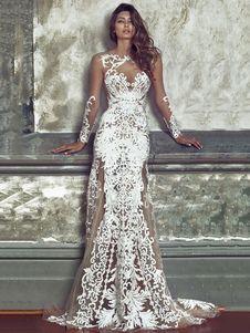 Lace Maxi Dress White Long Sleeve Round Neck Semi Sheer Backless Jacquard Long Dresses For Women