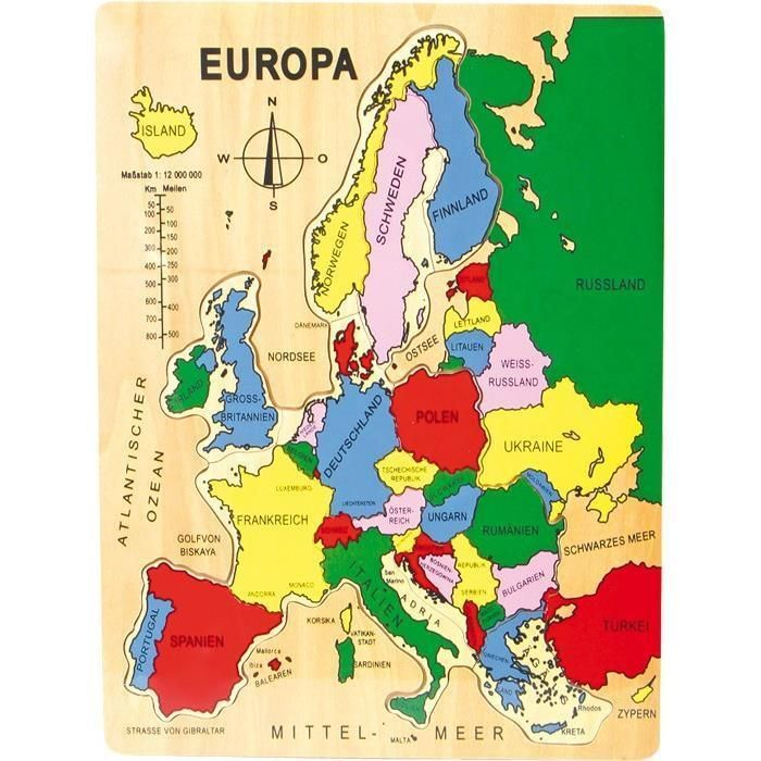 Legler Puzzle Europa 40x30x2 cm aus Holz ab 3 Jahren NEU