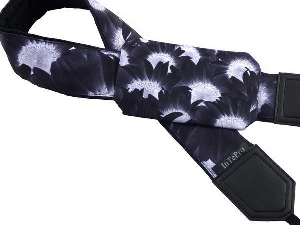 Dark pocket camera strap with sunflowers. Flowers. Floral design. Women's fashion accessory. Camera strap for Nikon, Canon, Fuji, Pentax. 00369