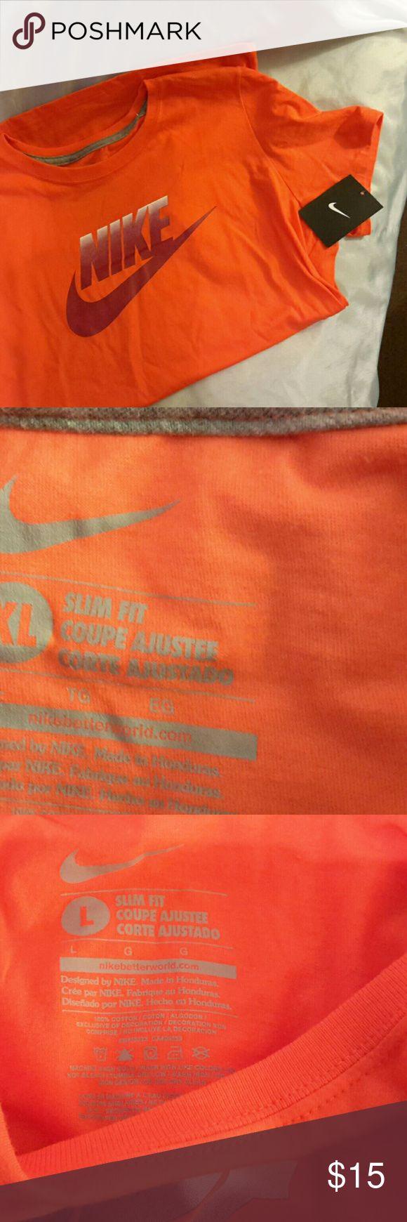 Nike women's slim fit orange with cranberry NWT Futura fadev tee Short sleeve (Lp) Nike Tops Tees - Short Sleeve