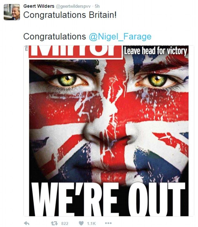 Following the Brexit vote, Wilder's tweeted, 'hurrah for the Brits! Now it's our turn. tim...