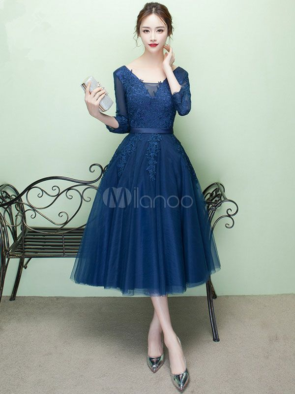 Short Prom Dress V Neck Lace Applique Tulle Cocktail Dress 3 4 Sleeve A Line  Tea Length Party Dress 6e1c195e0
