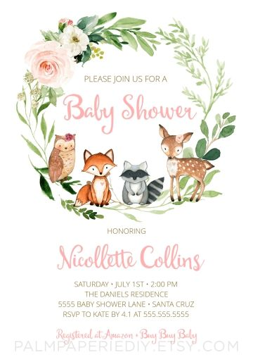 woodland invitation  girl  baby shower  forest animals