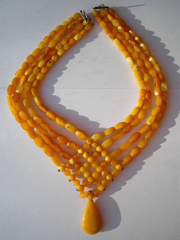 Antique Natural Butterscotch Egg Yolk Amber Beads Necklace 58.3Gr.