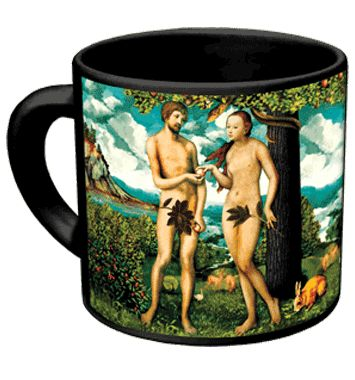 Adam & Eve disappearing fig leaf mug - the unusual mug with a sense of humor from the Unemployed Philosopher's Guild