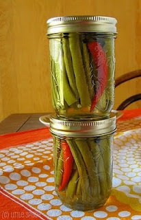 Spicy pickled green beans... Just in case I get a little crazy at the farmers market this weekend :)