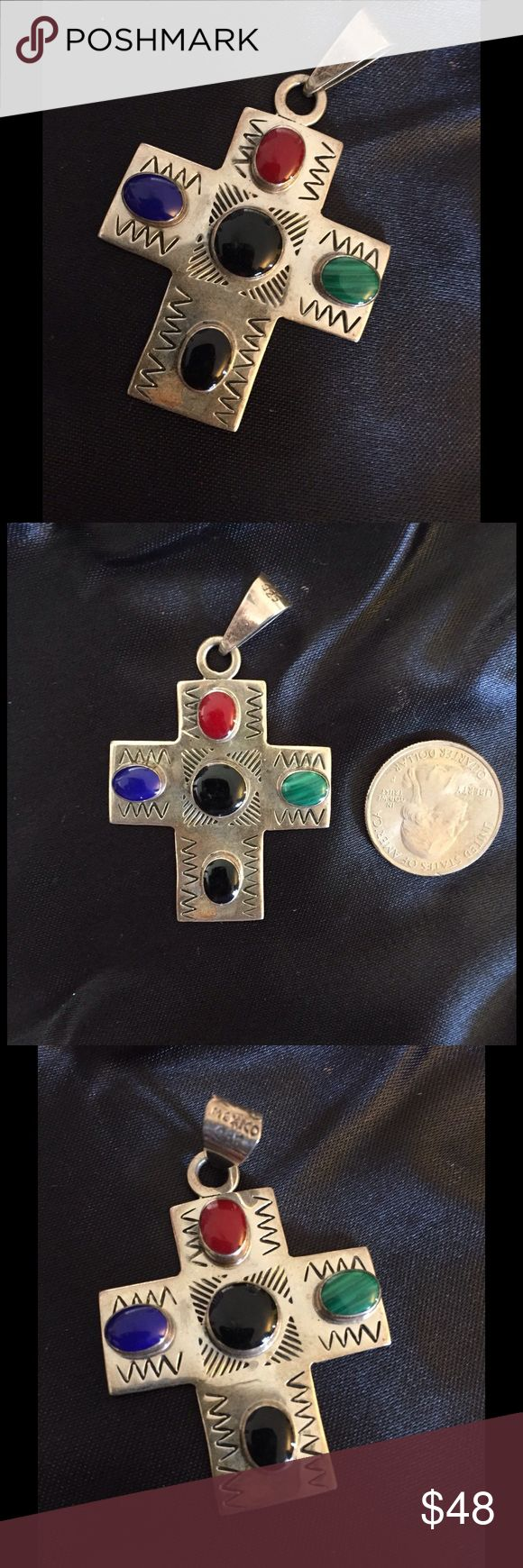 Vintage Sterling Multi Gemstone Cross Pendant Beautiful little cross came from old pawn lot purchased. Marked Mexico 925. No lowball offers will be accepted. Jewelry Necklaces