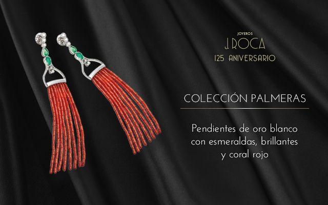 Joyas con fuerza formadas por gemas de ultramar para crear un movimiento elegante y extravagante. Pendientes de oro blanco con esmeraldas y coral rojo