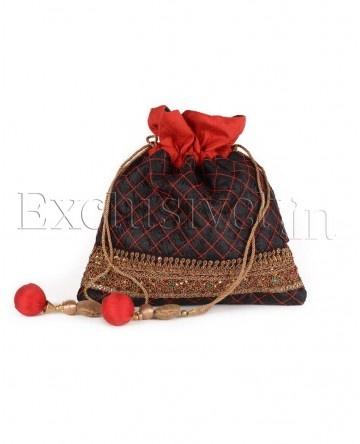Black Quilted Potli Bag