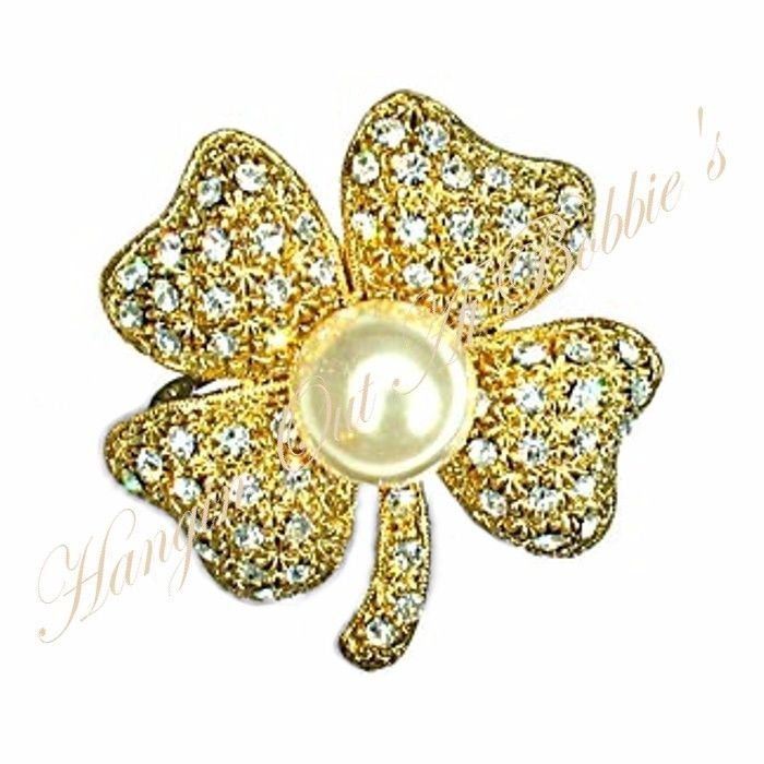 Four Leaf Clover Pin Brooch Clear Crystal Faux Pearl Irish Luck Goldtone Metal #nobrand