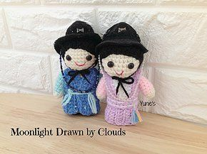 Moonlight Drawn by clouds Crochet Dolls No Pattern. Inspiration only
